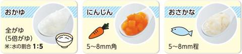 野菜や魚は舌でつぶせるくらいに柔らかいと、噛まずに丸呑みする場合があります。生後7~8ヶ月の固さの目安よりも少し固く、歯ぐきでつぶせるバナナぐらいの固さを目安にしましょう。