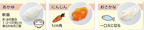 野菜や魚・肉などは、歯茎でつぶせる肉だんごくらいの固さに調理し、ひとくちサイズにしましょう。